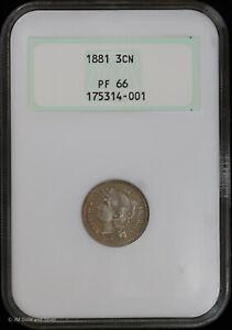 1881 Proof 3 Cent Nickel NGC PF 66 | Uncirculated PR Vintage Holder