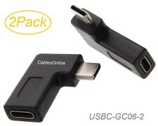 2-Pack Side-Angle USB-3.1 Type-C Male to Type-C Female Extension Adapters