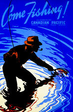 1939 Canadian Pacific - Come Fishing! - Travel Advertising Poster