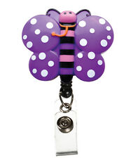Prestige Medical Retractable ID Badge Holder BUTTERFLY *Bulldog clip  Retracteze