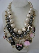 BETSEY JOHNSON PARIS IS ALWAYS A GOOD IDEA CHARM STATEMENT NECKLACE~RARE~NWT
