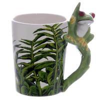 Frosch Natur Tasse mit 3D Henkel - Premium Kaffeetasse Kaffeebecher Keramik, NEU