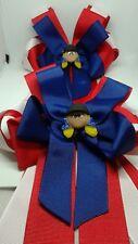 Equestrian Horse Show Hair Bows W/ French Clip Red & Blue  Ribbon