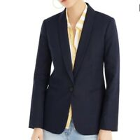 NEW JCREW BLAZER 2P 2 P PETITE NWT womens NAVY BLUE LINEN BLAZER PARKE H9726 NEW
