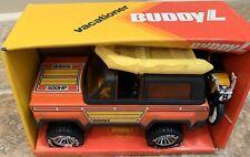 Vintage Buddy L Vacationer Set In Original Box Chevy Blazer, Raft And Motorcycle