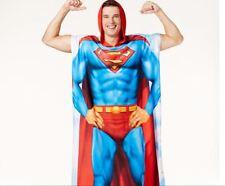 DC COMICS ORIGINALS SUPERMAN SUPER HERO HOODED PONCHO COSTUME MENS NWT NEW