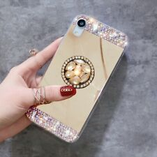 Mirror Bling Diamonds Ring Stand Soft Case Cover for Galaxy A10E A20 A30 A50 A70