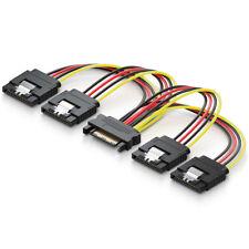 deleyCON 0,15m SATA Strom Y-Adapter - 1 zu 4x S-ATA Stecker - 4 Fach Stromkabel