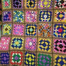 Handmade Vintage Black Multi Crochet Granny Square Afghan Blanket Throw 44 x 60
