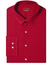 NWT $95 ALFANI Men SLIM-FIT STRETCH RED LONG-SLEEVE DRESS SHIRT 15-15.5 32/33 M