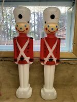 "2 Soldier Blow Mold 30.5"" Union Decoration Christmas Yard 1987 Vintage White Hat"