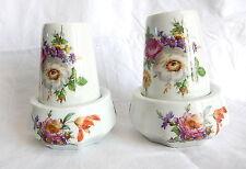 Limoges Chapus frères 2 verre salle de bain et support superbe decor de fleurs