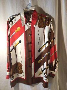 Authentic Hermes Vintage Women's Long Sleeve Shirt Silk Size 38 Horse