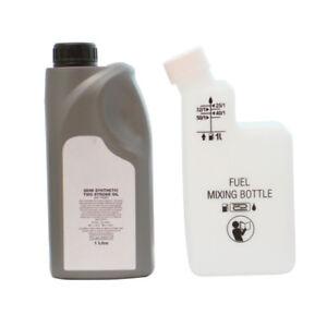 1 Litre Of 2 Stroke Oil & Fuel Petrol Mixing Bottle For Strimmer 25:1 40:1 50:1