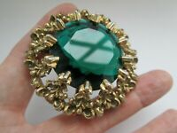Vintage Stunning Ornate Gold Tone Emerald Glass Statement Flower Brooch Pin