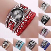 Fashion Women Bracelet Watch Multilayer Leather Band Quartz Wrist Watch Gift New