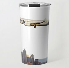 Alaska Airlines Boeing 737 over Seattle - Metal Travel Mug (15oz)