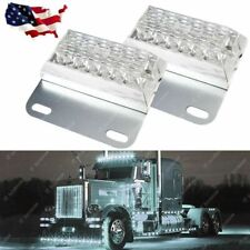 2x White 12-LED Bus Trailer Side Marker Clearance Indicator Light Lamps