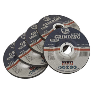 PTC/115G5 Sealey Tools Ø115 x 6mm Grinding Disc Ø22mm Bore - Pack of 5 (Grinding
