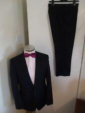 """VENTUNO 21 Men's Black Stripe 2-Piece Suit C40"""" Short W34"""" L29"""" Classic W/Blend"""