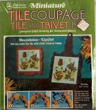 Vintage Craft Master Miniature Tilecoupage Tile Trivet Kit Field of Green