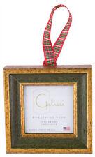Galassi Handmade Italian Wood Ornament Green Traditional w/ Plaid Ribbon USA*