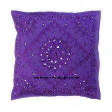 "Indian Cotton Mirror Embroidered Cushion Cover Kantha Decor Pillow Case Sofa 16"""