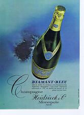 PUBLICITE ADVERTISING 074 1969 HEIDSIECK & Cie champagne Diamant bleu