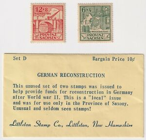 Mint 1946 Saxony, Germany Russian Zone - Reconstruction - 6+4 & 12+7 Stamps