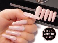 Nude Pink Marble Press On Nails False Fake Gel Glue On Stick On Full Cover Nails