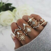 10Pcs/set Gold Midi Finger Ring Set Vintage Punk Boho Knuckle Rings Jewelry