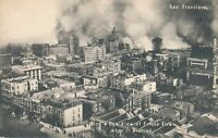 SAN FRANCISCO CA - The Frisco Fire When It Started Birdseye View -udb (pre 1908)