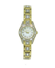 Elgin EG1510 Women's Round Mother of Pearl & Crystal Analog Gold Tone Watch