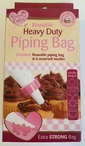 Queen of Cakes Reusable Piping Bag Decorative Heavy Duty and 6 Assorted Nozzles