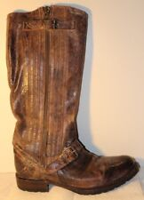 SENDRA Brown Distressed Crackled Leather Knee-High Engineer Womens Boots 10 M