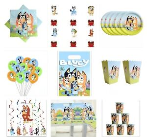 BLUEY BIRTHDAY FOR 10 PARTY PACK PLATES NAKINS CUPS CLOTH, BALLOONS DECORATION