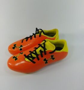 Youth Under Armour Cleats Size 3.5 Orange And Yellow