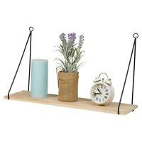 Wooden Floating Shelf Hanging Oak Wall Mounted Storage Display Metal Brackets
