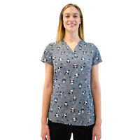 Maevn Women's Print Scrub Top 1767 PIM V-Neck Panda in Motion Sizes XS to 2XL