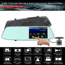 "5"" 1080P Car DVR Dual Lens touch Rearview Mirror Camera Dash Cam Recorder G-Sens"