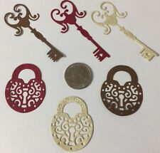 LOCK & KEY Die-Cuts(6pc) Victorian•Steampunk•Filagree•Card Making •Scrapbooking•