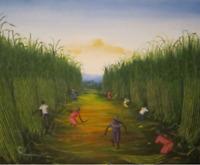 """Gemälde """"Zuckerrohrernte"""", naives Bild aus Martinique/Karibik"""