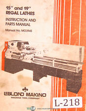 "Leblond Makino, 15"" & 19"" Regal Lathes, 95 page, Instruction & Parts Manual 1990"
