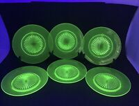 "Green Depression Glass 7.5"" Luncheon Salad Plates Star Bottom Uranium Lot of 6"