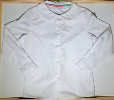 French Toast Girls Size 8 White Long Sleeve Lace Trimmed Peter Pan Round Collar