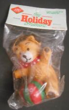 Vintage Gas Promo 1989 Dated Porcelain Teddy Bear with Ball Holiday Ornament New