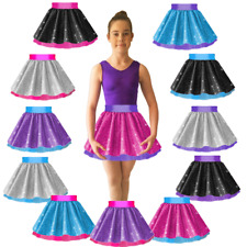 "GIRLS SEQUIN & NET Sparkle 12"" Skirt JAZZ & TAP Dance SHOW Costume Many Colours"