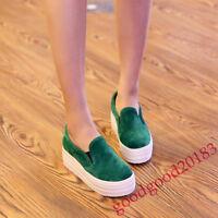Women Slip on Hidden Wedge Heel Suede Shoes Platform Vogue Sneakers Loafers Size