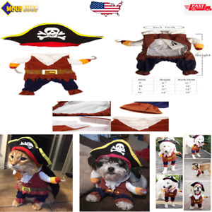 Cool Caribbean Pirate Pet Halloween Costume for Small to Medium Dogs/Cat