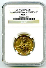 2010 CANADA $1 CANADIAN NAVY ANNIVERSARY NGC MS67 LOONIE DOLLAR RARE TOP POP=22